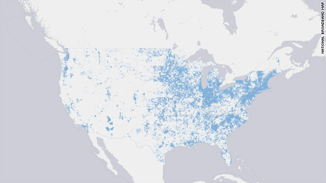 The newly published National Broadband Map shows an overview of U.S. broadband internet accessibility.