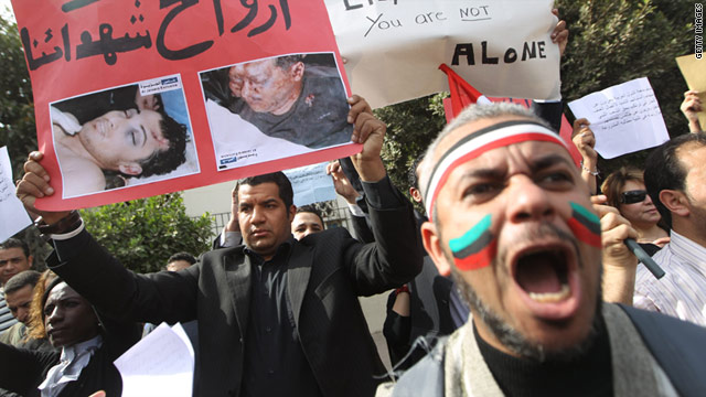 Protestors in Egypt show their support for an ongoing anti-government demonstrations in neighboring Libya.