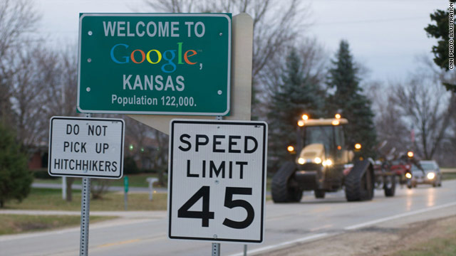 A CNN photo illustration welcomes travelers to Topeka, which changed its name to try to attract a Google project.