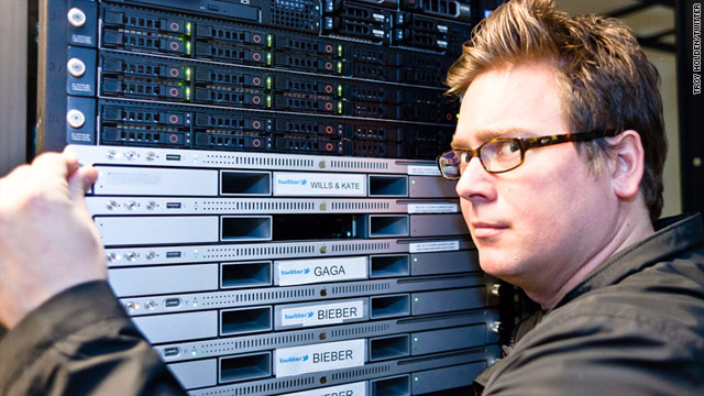 Twitter co-founder Biz Stone jokingly adds a computer server to his company's arsenal in advance of the royal wedding.