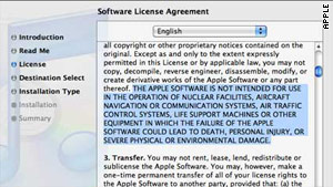 iTunes' terms and conditions are presented in a daunting, 56-page document that few may bother to read.