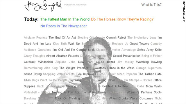 "JerrySeinfeld.com went live Friday morning with three short comedy clips including ""The Fattest Man in the World."""