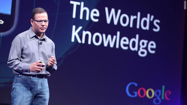 Google search guru Amit Singhal announces new search features at Tuesday's press event.