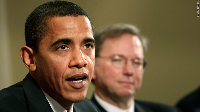 President Barack Obama, left, with Google Executive Chairman Eric Schmidt.