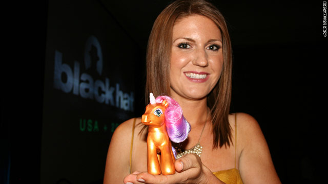 Sarah Willis, a friend of one of the judges, was the Vanna White of the Black Hat conference's Pwnie Awards.