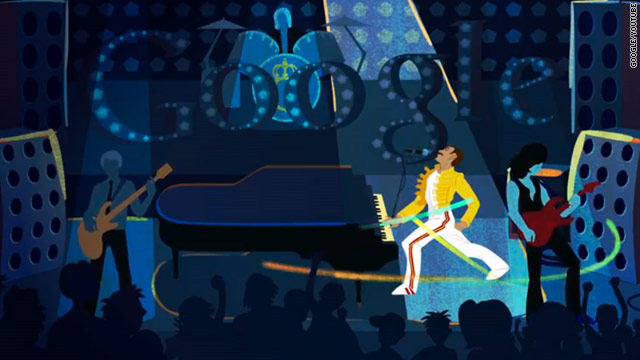Google unveiled an animated doodle Monday to mark what would have been the 65th birthday of Queen singer Freddie Mercury.