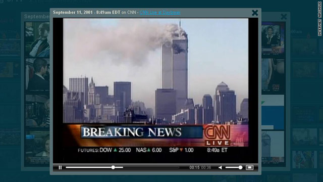 "A video on the Internet Archive's ""Understanding 9/11"" page shows the first moments of CNN's report on the attacks."