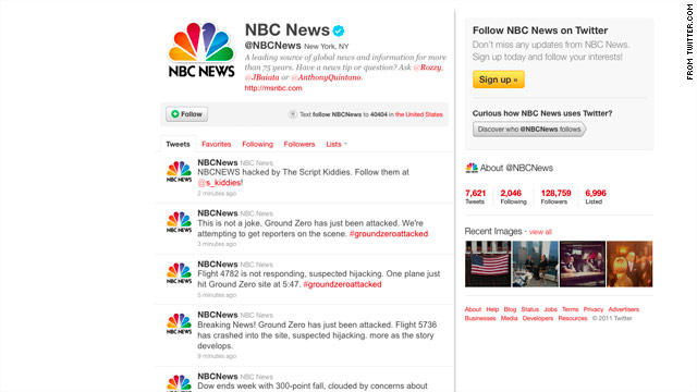 Hackers posted false messages about a fresh attack on New York's Ground Zero via NBC News' Twitter account.