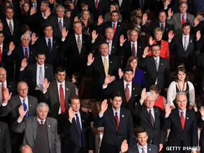 Members of the 112th Congress are sworn into office on January 5, 2011 in Washington, DC.