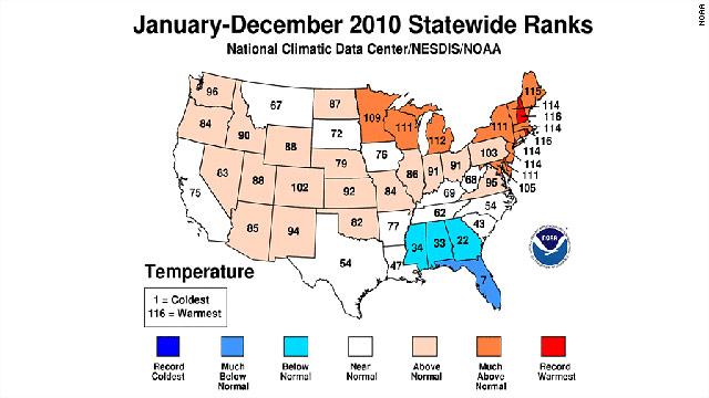 NOAA: 2010 ties 2005 as warmest year on record