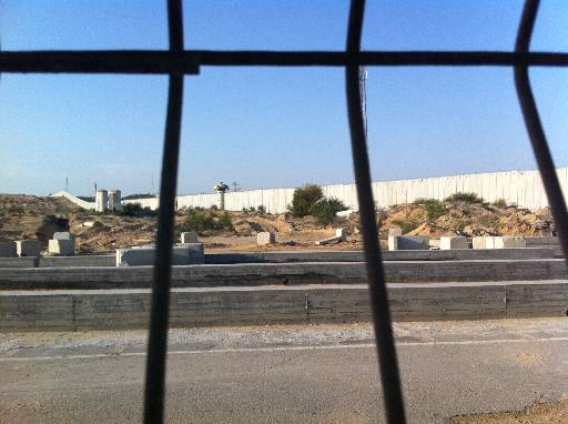 The view of the concrete barrier separating Gaza and Israel from the Palestinian side of the Erez crossing.(CNN/Kevin Flower)
