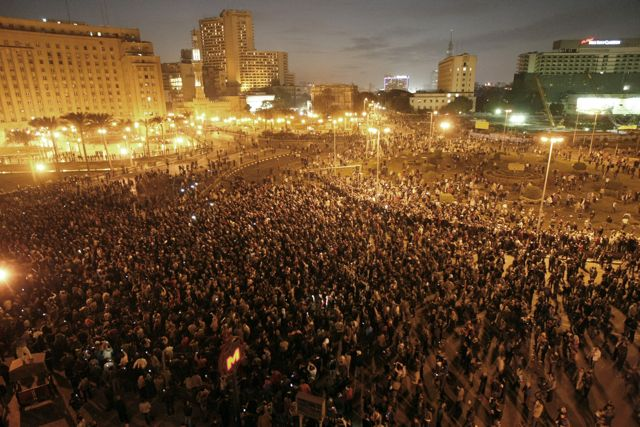 Photo: Mohammed Abed/AFP/Getty Images. Thousands of Egyptian protestor gathered last night in Tahrir Square in downtown Cairo calling for the ouster of Egyptian President Hosni Mubarak.