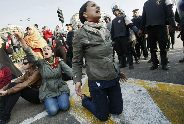 Photo: Mohammed Abed/AFP/Getty Images. At least 3 people were killed in anti-Mubarak protests yesterday.