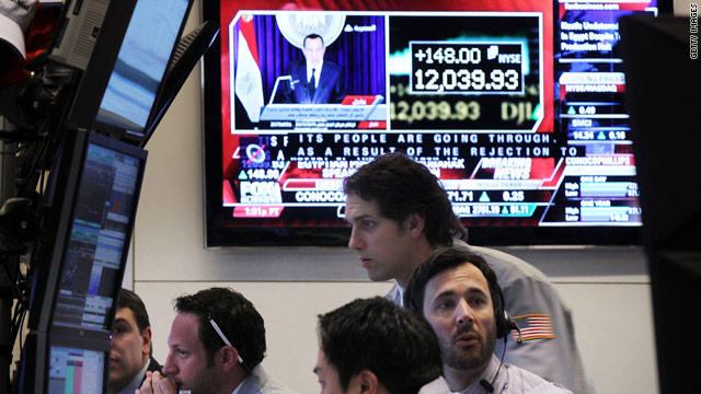 Dow finishes above 12,000