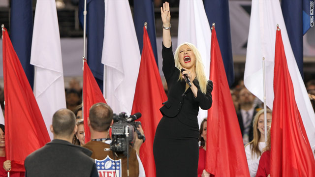 Aguilera flubs national anthem at Super Bowl