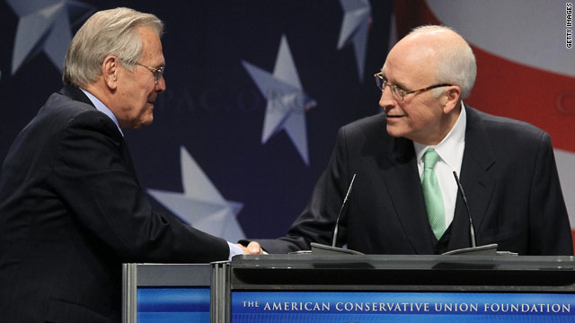 Cheney, Rumsfeld face jeers and cheers