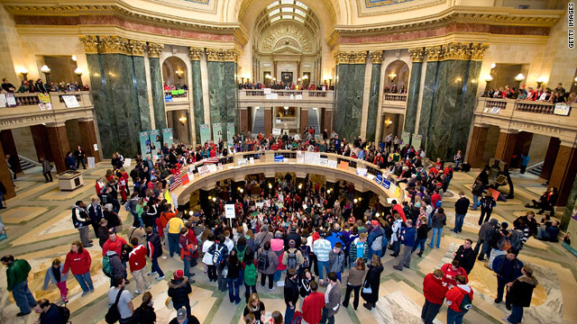 State Democrats absent for vote as Wisconsin budget protests swell