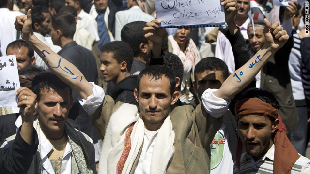 Protesters rally in Yemen