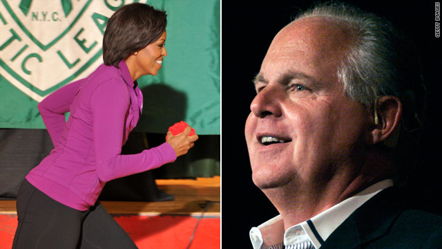 Limbaugh takes aim at Michelle Obama&#039;s waistline