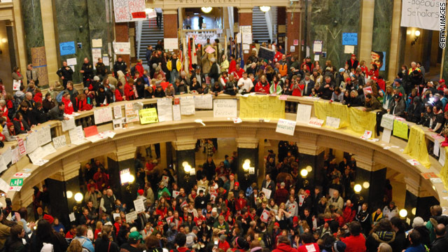Wisconsin governor blasts public-sector unions as wasteful