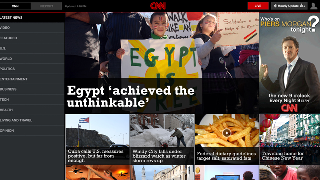 CNN launches app on Android's Honeycomb tablet platform