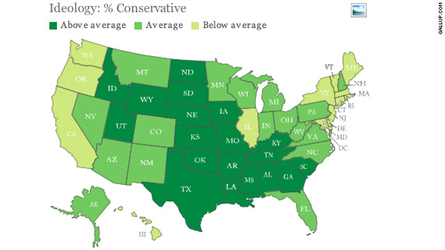 New poll identifies most liberal and conservative states