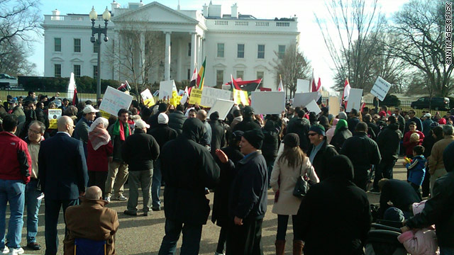 Photo: Protesters gather outside the White House