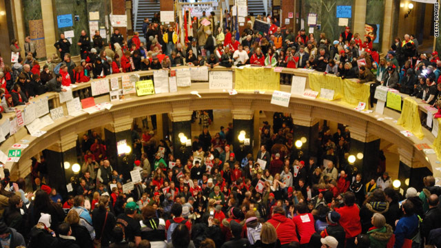 Polls: More support for unions in Wisconsin labor battle