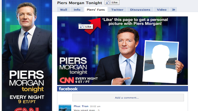 Become a fan on Facebook – get your picture taken with Piers