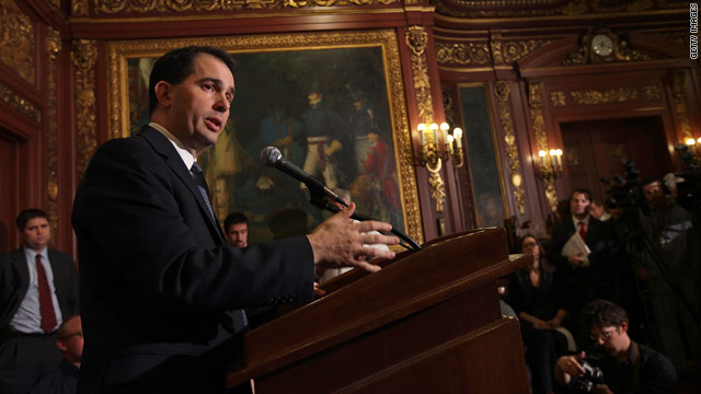 Wisconsin governor issues union layoff notices