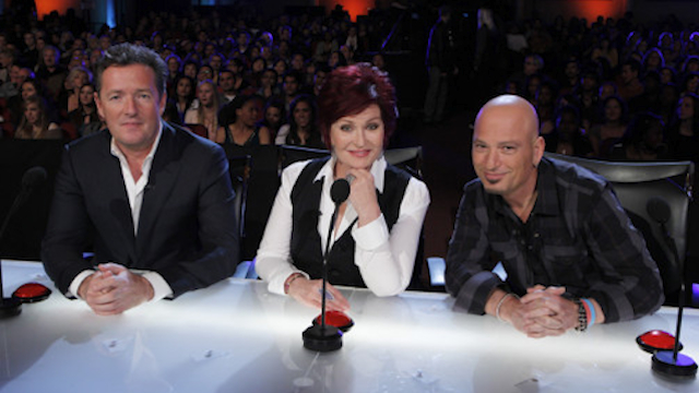 "The three ""America's Got Talent"" judges – on opposite sides of the desk"