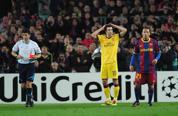 Arsene Wenger's anguish was caused by Robin Van Persie's sending-off against Barcelona.