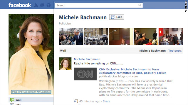 Bachmann acknowledges CNN story with Facebook supporters