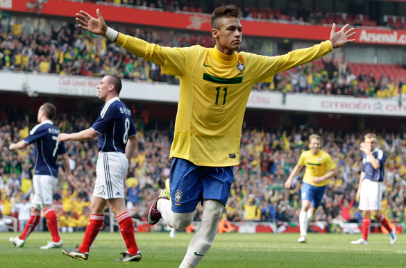 Brazil's Neymar scored a brace to help his country beat Scotland 2-0 in London on Sunday.