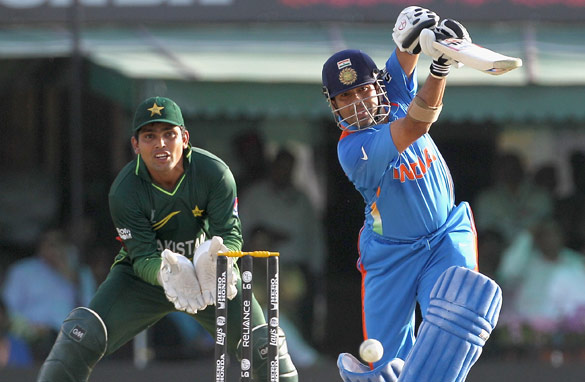 Indian batsman Sachin Tendulkar drives his team forward against rivals Pakistan.