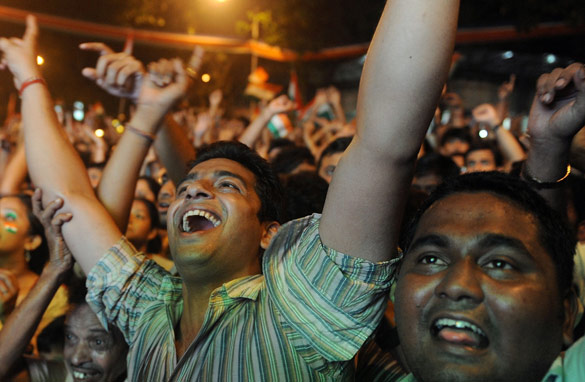Indian fans celebrate after winning the Cricket World Cup on April 2.