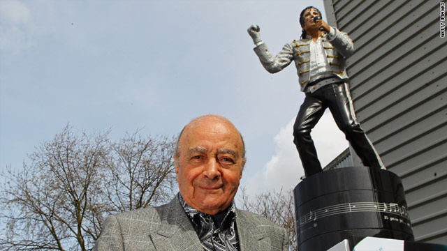 Defiant al Fayed puts Michael Jackson statue outside soccer stadium