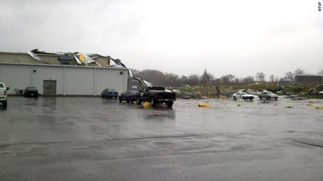 Tornado strikes Kentucky plant; other storms strike the South