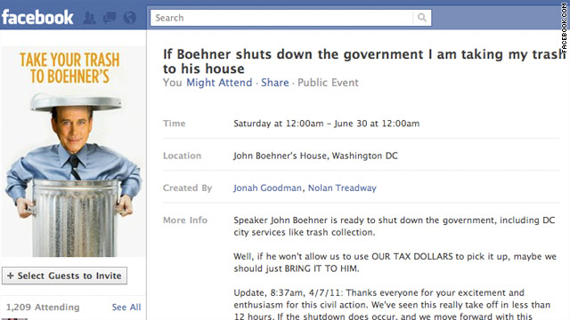 Facebook event: Let's dump trash at Boehner's pad