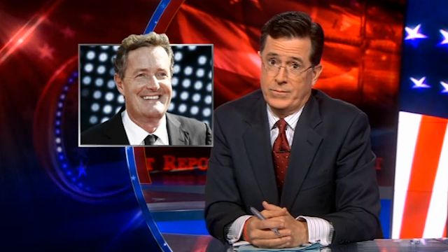 "Stephen Colbert tackles the ""I'm running for President"" Piers/Pawlenty situation"