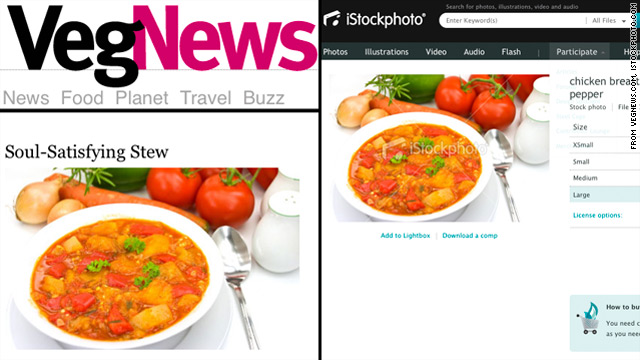 Vegan magazine in a stew over meaty stock photos