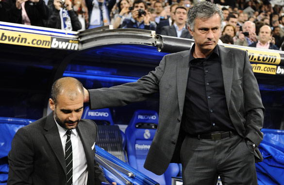 Mourinho (right) will be looking to get the better of Barcelona coach Pep Guardiola (left) in their next three meetings.