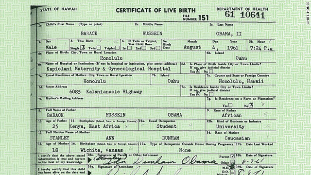 BREAKING: White House releases Obama's birth certificate