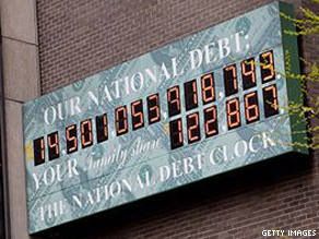 The National Debt Clock pictured in Manhattan last week.
