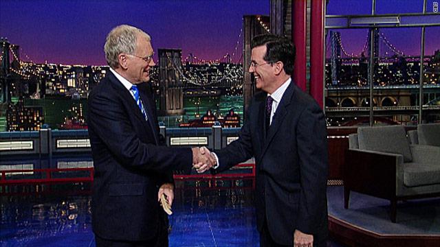 Colbert pays Letterman a visit