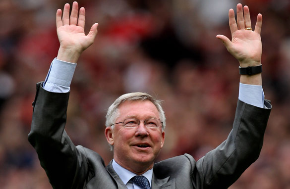 Alex Ferguson: On the brink of securing the English Premier League title for Manchester United.