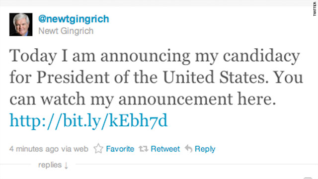 Gingrich announces presidential campaign