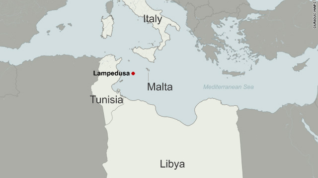 Boat crammed with refugees from libya reaches tiny italian island map island of lampedusa gumiabroncs Images