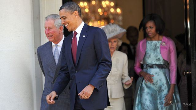 Obama in England to meet queen and prime minister