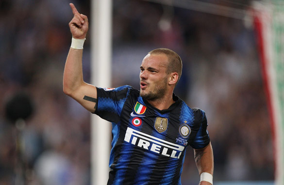 Wesley Sneijder may be looking for a new challenge after two seasons at Internazionale. (Getty Images)